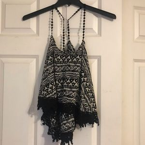 LF black and white tank top